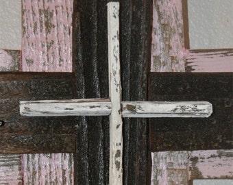 Girls Pink  Nursery baby cross, rustic nursery decor,  pink, reclaimed wood cross