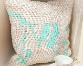 Burlap pillow with hand painted birds