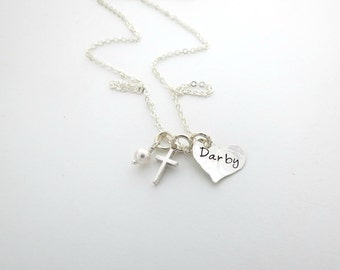 Personalized Necklace with Cross - Baptism Gift - First Communion Gift - Godmother Gift - Mother, Grandma, Nana - Childs Necklace