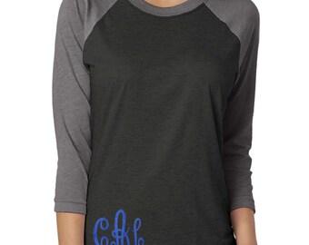 monogram raglan tee . Monogram baseball shirt . Monogram glitter shirt . Monogram Raglan . Monogram shirts . blue glitter- monogram shirts