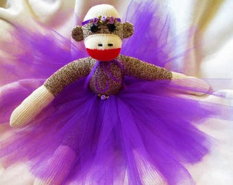 Sock Monkey Purple Ballerina Doll Toy Stuffed Animal Handmade Rockford Red Heel Socks 16""