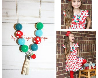 Alphabet Soup Tassel Necklace-Red Blue Teal Green Tassel-M2M Eleanor Rose-Back to School Tassel-Apple Tassel-Baby-Toddler-Girls-Women