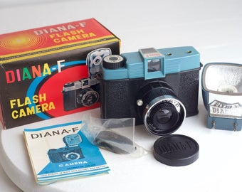 Diana F Flash 120 Medium Format Film Camera, Unused in Box with Flash, Strap, Lens Cap, and Manual