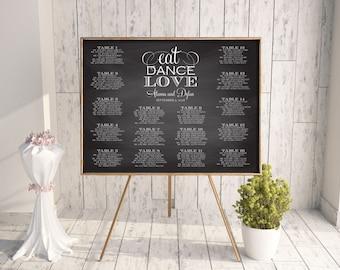 Wedding Seating Chart, DIY Seating Chart, Printable Seating Chart, 18x24, 24x36, 16x20, Rush, Seating Chart PDF, Chalkboard, Eat Dance Love