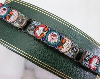 Micro Mosaic Bracelet - Italy Gold Tone Vintage Bracelets for Women