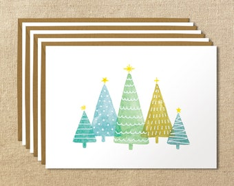 Illustrated Christmas Trees Card Box Set of 8 || A2 Christmas Cards
