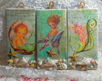 Darling trio set of vintage baby mermaids on hanging tiles