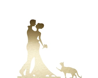 Gold Bride and Groom Acrylic Cake Stand Topper Wedding Cake Topper Bride Groom with Cat  Silhouette Toppers