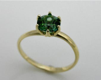 Engagement ring with Topaz green, ring 14k