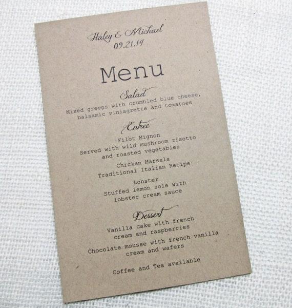 Matrimonio Rustico Rustico : Articoli simili a menu rustico wedding matrimonio