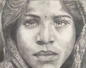 "Woman of India - Original Pencil Drawing on High Quality Paper 8""x10"""