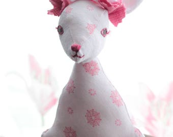 Hare Doll, Art Doll, Textile Doll, OOAK Doll, Spring, Ostara, Easter Decoration, Gift Idea, Mother's Day Gift, Gift for Her, Pink Hare