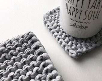 Knitted T-Shirt Coaster Set - Light Gray