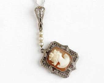 Sale - Antique Cameo Lavalier - 14k White Gold Carved Shell Pendant Necklace - Vintage 1930s Female Silhouette Filigree White Bead Jewelry