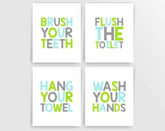 Green Blue Grey Printable DIY Kids Bathroom Art, Brush, Flush, Hang, Wash, Set of 4, 8x10 JPG files  ( 001BA810 ) ( n098)
