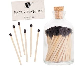 Black matches in a glass jar. Black Matchstick Jar™. Black Fancy Matches. Colored matches. Farmhouse decor. Gifts for her. Hostess gift.