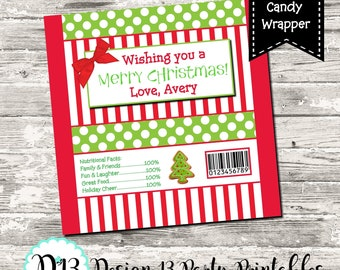 Christmas Candy Bar Chocolate Bar Wrappers Favor Print Your Own Digital