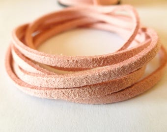 1 meter Rose 3 mm (ref PPS3R) flat suede cord