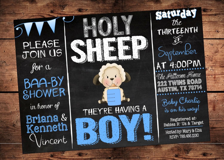 Holy Sheep Boy Baby Shower Invitation Lamb Theme Baby