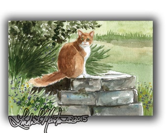 Farm Cat Art  Pastorial LLMartin Original Watercolor Painting- Virginia Country
