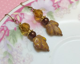 Fall Leaf Earrings, Czech Glass Leaf Earrings, Brown Leaf Earrings, Woodland Earrings, Autumn Jewelry, Bohemian Earrings