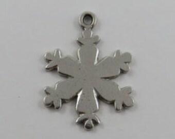 Snowflake Sterling Silver Vintage Charm For Bracelet