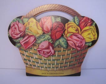 Vintage Rose Basket Needle Book