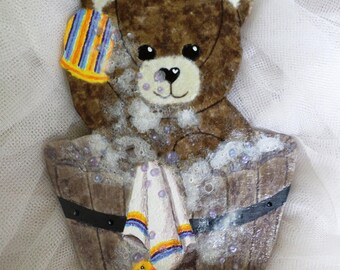 "Honey Bear ""Bathing"" wood and paper"