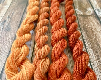 4 Skeins of Eucalyptus Dyed Wool Embroidery Threads for Needlework, Embroidery and Crewel Work.