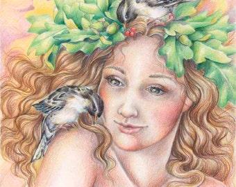Aurora's Little Secrets- signed archival print-  flower Fairy elf sprite woodland girl bird colored pencil art