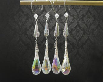 Clear Crystal Christmas Winter Icicle Beaded Drop Ornaments, set of 4