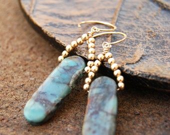 fervor... gold chrysocolla beaded earrings / 14k gold filled & mossy teal green chrysocolla ovals / boho