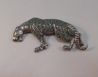Stunning Turquoise and Coral Set Tiger Sterling Silver Brooch