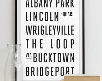 Chicago Subway Sign Wall Art Typography Poster - Modern Art Print