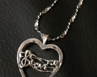 """Vintage """"I Love You"""" Heart pendant with 18"""" chain Sterling Silver .925"""