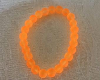 FREE SHIPPING Halloween Stretch Bracelet, Orange Frosted Stretch Bracelet