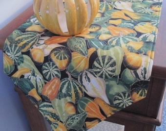 """90""""-120"""" Thanksgiving Table Runner Inch Reversible Fall Gourds Table Runner Autumn Table Runner Fall Table Runner Rustic fall runner"""