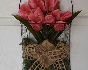 Chicken Wire Wall Basket with Tulips