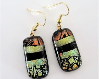 Dichroic Glass Etched Design on Bronze and Yellow Green Dangle Earrings Clear Top Glass Over Yellow Green Black Bronze Dichroic Fused Glass