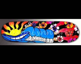 Wave Painting Skateboard Art | Surfer Girl Decor | Hibiscus Flower | Wave Art | Surf Art | Hawaiian Decor | Neon Artwork | Ocean Painting