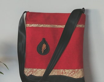 Tote; Red and black leather with Wooden Bird