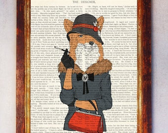 Female Fox with Hat and Cigarette Art Print, Fox Wall Print, Fox Wall Art, Book Art Fox Print, Animal Print, Fox Artwork, Fox Poster