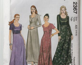 McCall's sewing pattern 2367 -Misses' long empire waist dress - size 4-6-8
