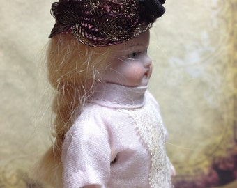 Miniature dollhouse hat mini doll tiny hat 1 inch 12 scale vintage antique old fashion gold purple black French metal Downton elegant women