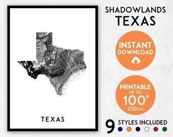Shadowlands Texas map print, Texas print, Texas poster, Texas wall art, Map of Texas, Texas art print, Texas map poster, Texas gift, USA map