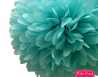 1 x 50cm (19.5 in) Sea Mist AQUA Blue Tissue Paper POM POM / Pompom / Paper Flower / Retro Kids Party Supplies / Wedding / Baby Shower