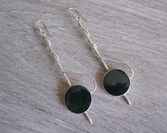 Sterling Silver and Green Enamel Drop Earrings