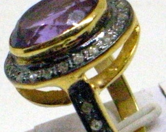 Vintage BIG Amethyst Diamond Ring - Real Rose Cut Diamonds - Gold Over Sterling - 6.5 - Large Amethyst Gemstone - Gorgeous
