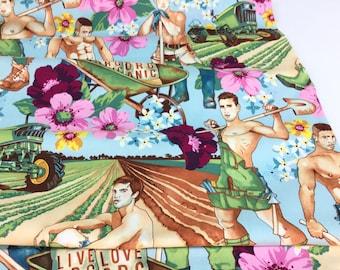 Plowing the Field Sky Color, Henry Nicole's Prints,  De Leon Design Group for Alexander Henry Fabrics ~ Cotton Quilt Fabric