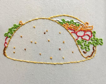 Taco Embroidery Pattern. Vignette Series.